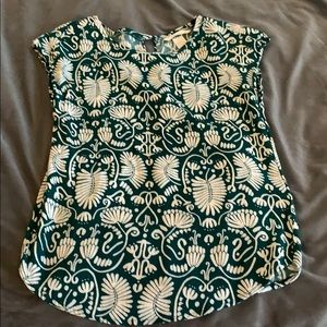 H&M cap sleeve blouse - green and white size 2